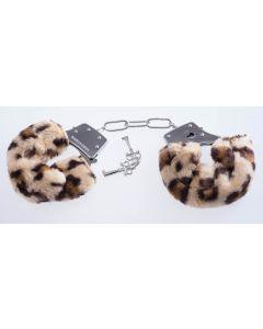 Handschellen mit Plüsch Leopard